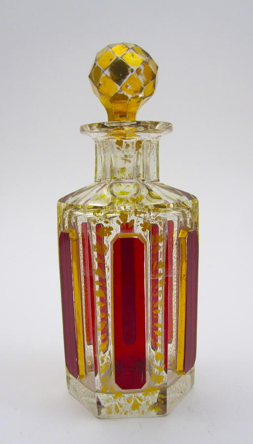 Antique MOSER Red Cut to Clear Perfume Bottle with Ruby Cabochons