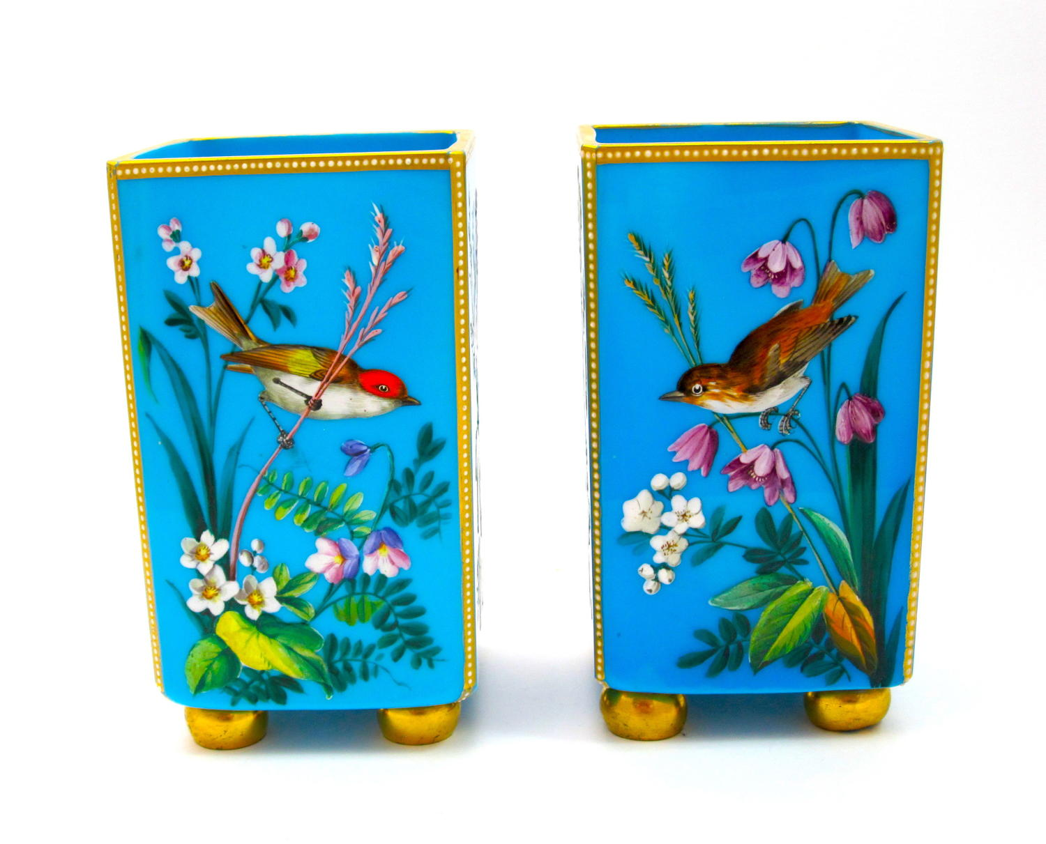 Pair of MOSER Blue Opaline Vases with Flowers and Birds