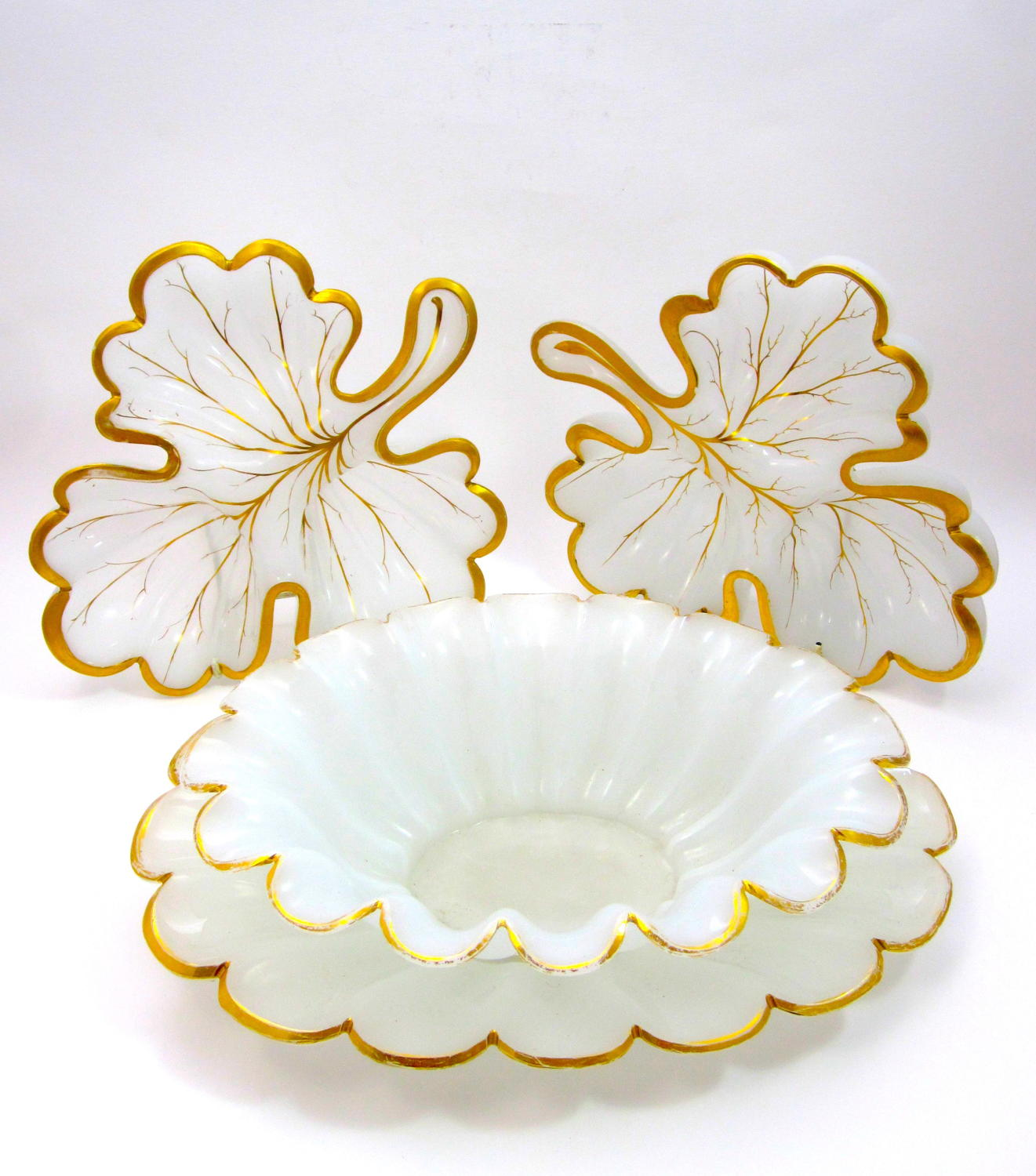 Antique French White Opaline Leaf Table Set