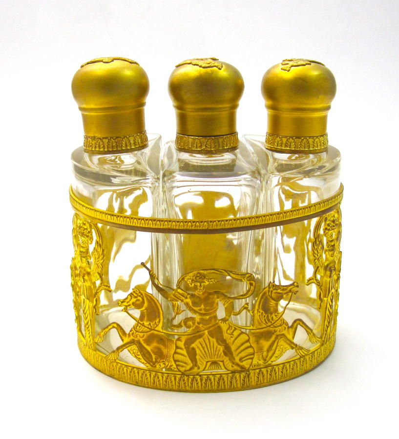 Napoleon III Dore Bronze and Crystal Perfume Set