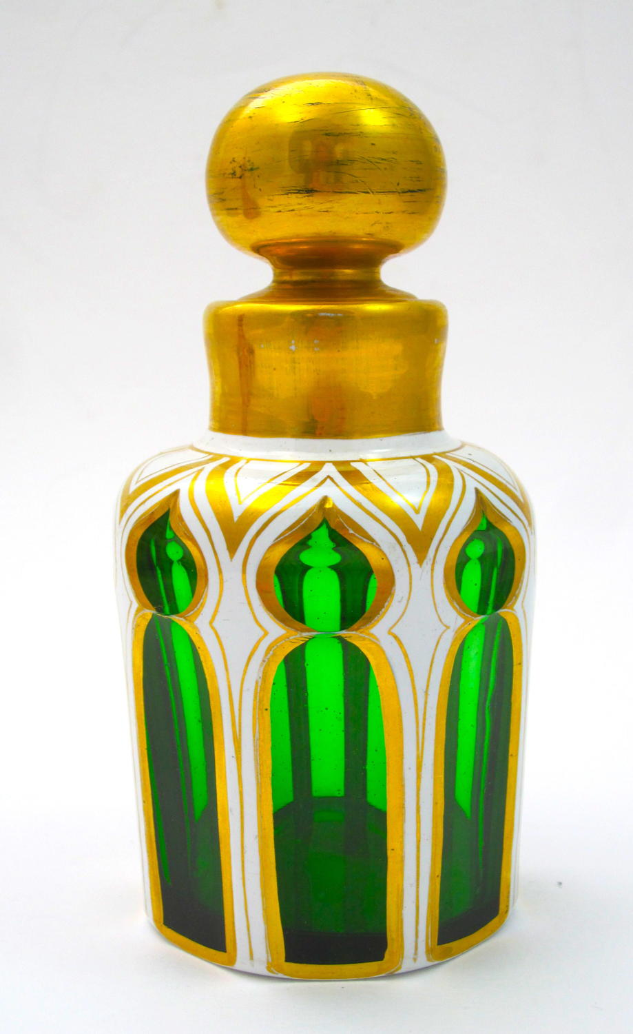 Antique Bohemian Green and White Overlay Glass Perfume Bottle