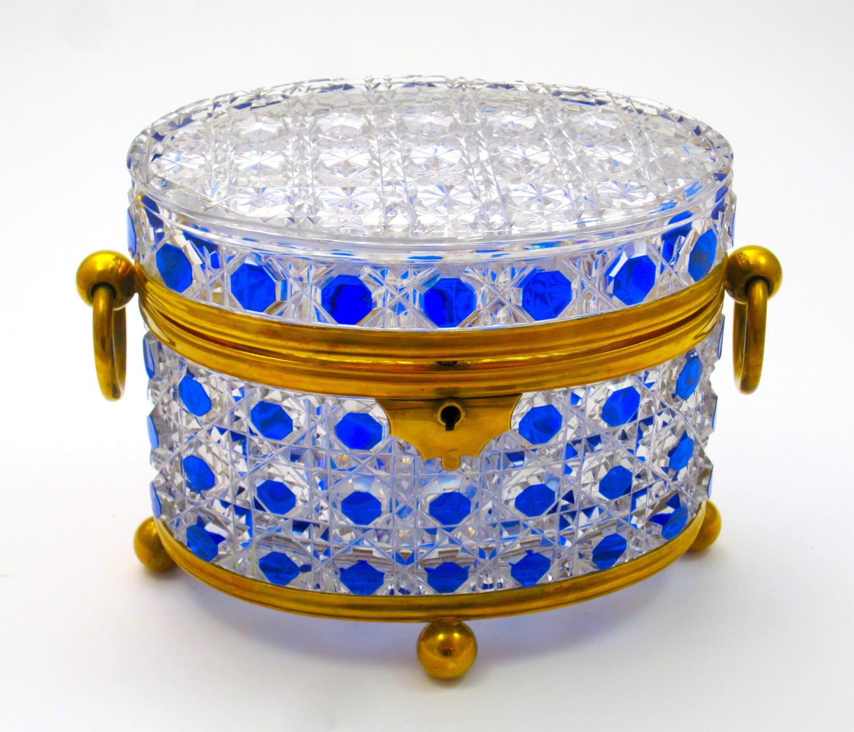 Antique BACCARAT Cobalt BlueHobnail Cut Crystal Casket