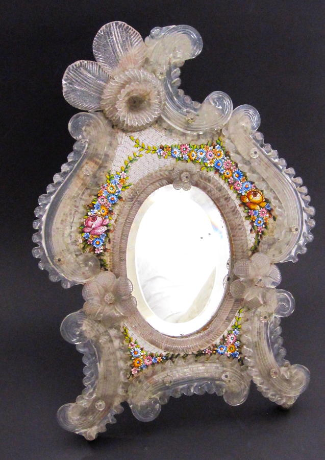 Antique Crystal Venetian Mirror Decorated with Micro Mosaic Flowers