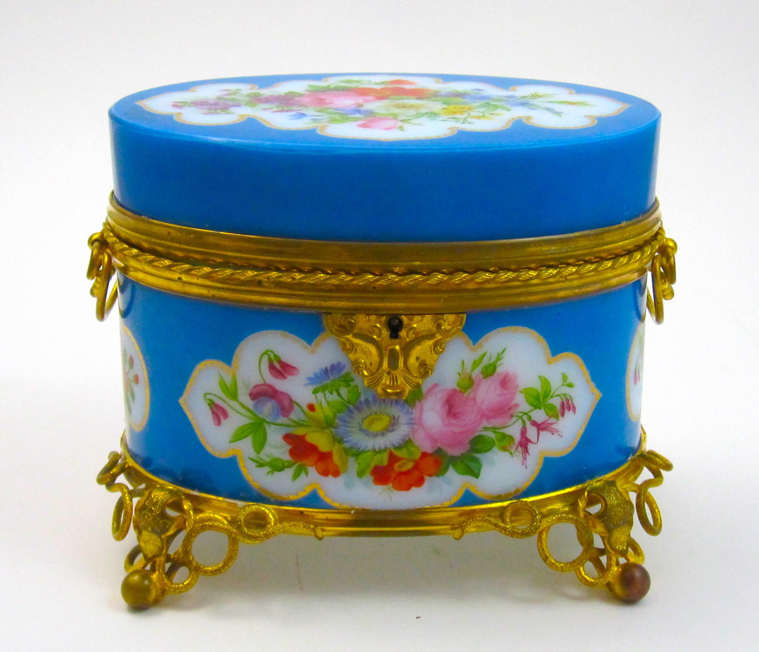 Rare BACCARAT Blue Opaline Glass Casket Box by J.F Robert