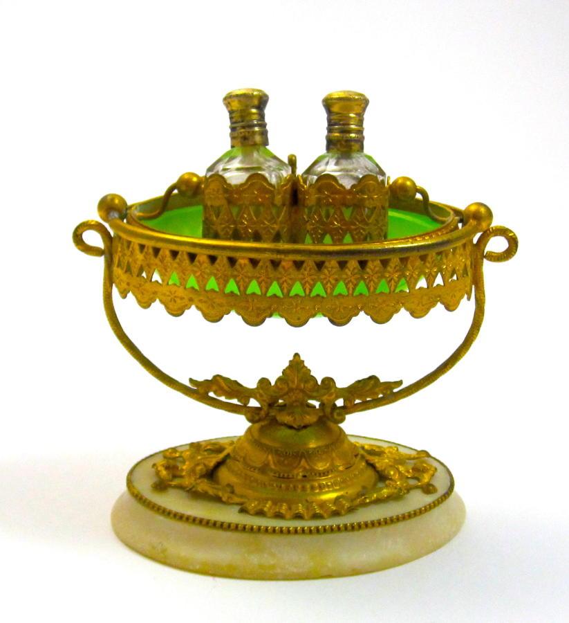Antique Palais Royal Green Opaline Glass Perfume Set