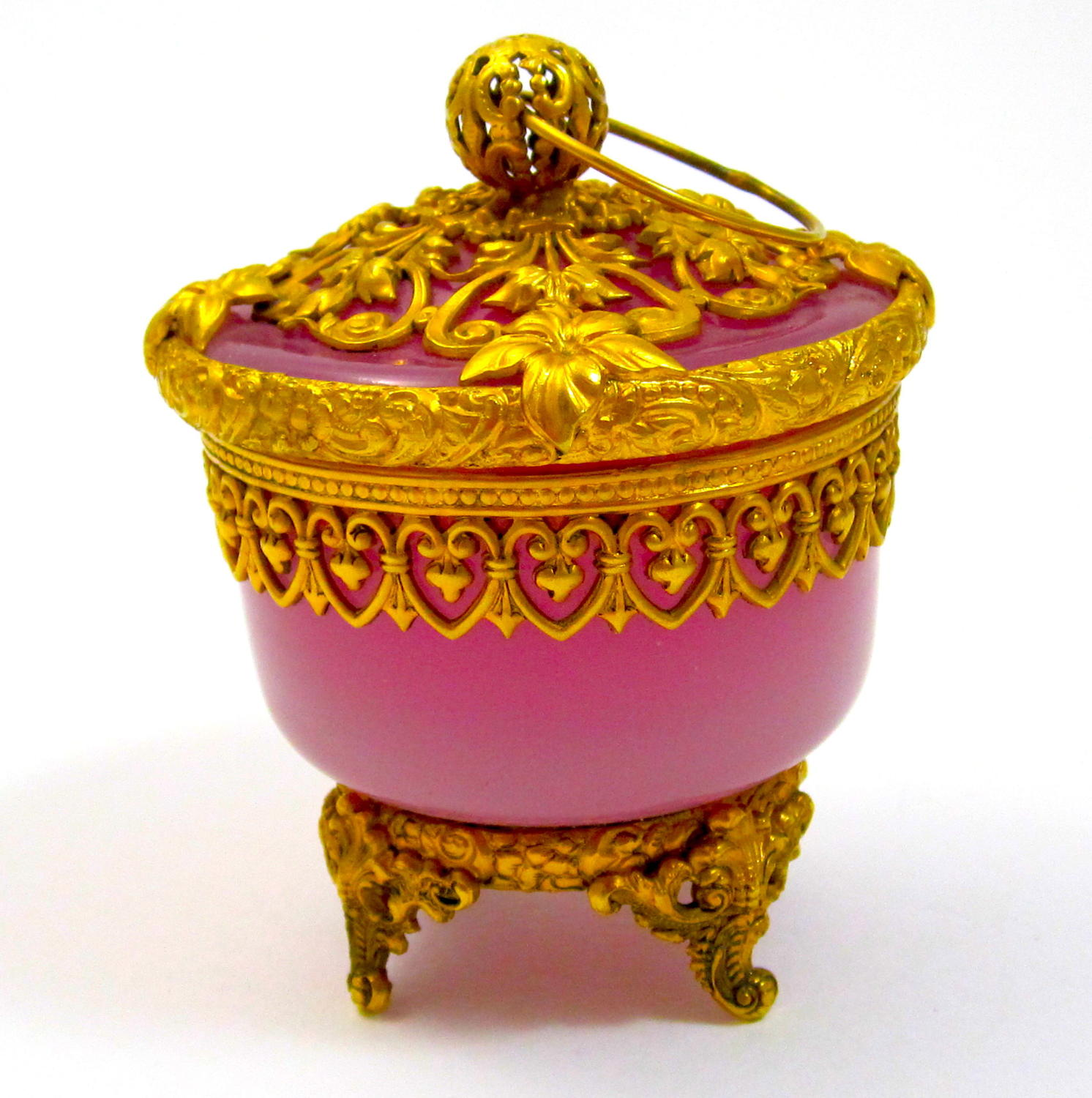 Antique Palais Royal Rare Pink Opaline Glass Box and Cover.