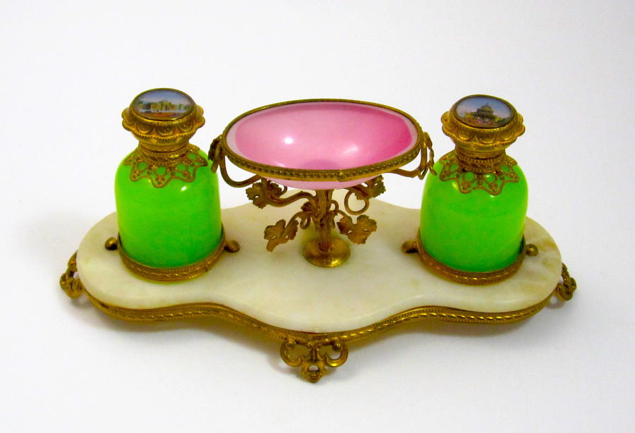 A Beautiful Palais Royal Opaline Glass Perfume Set