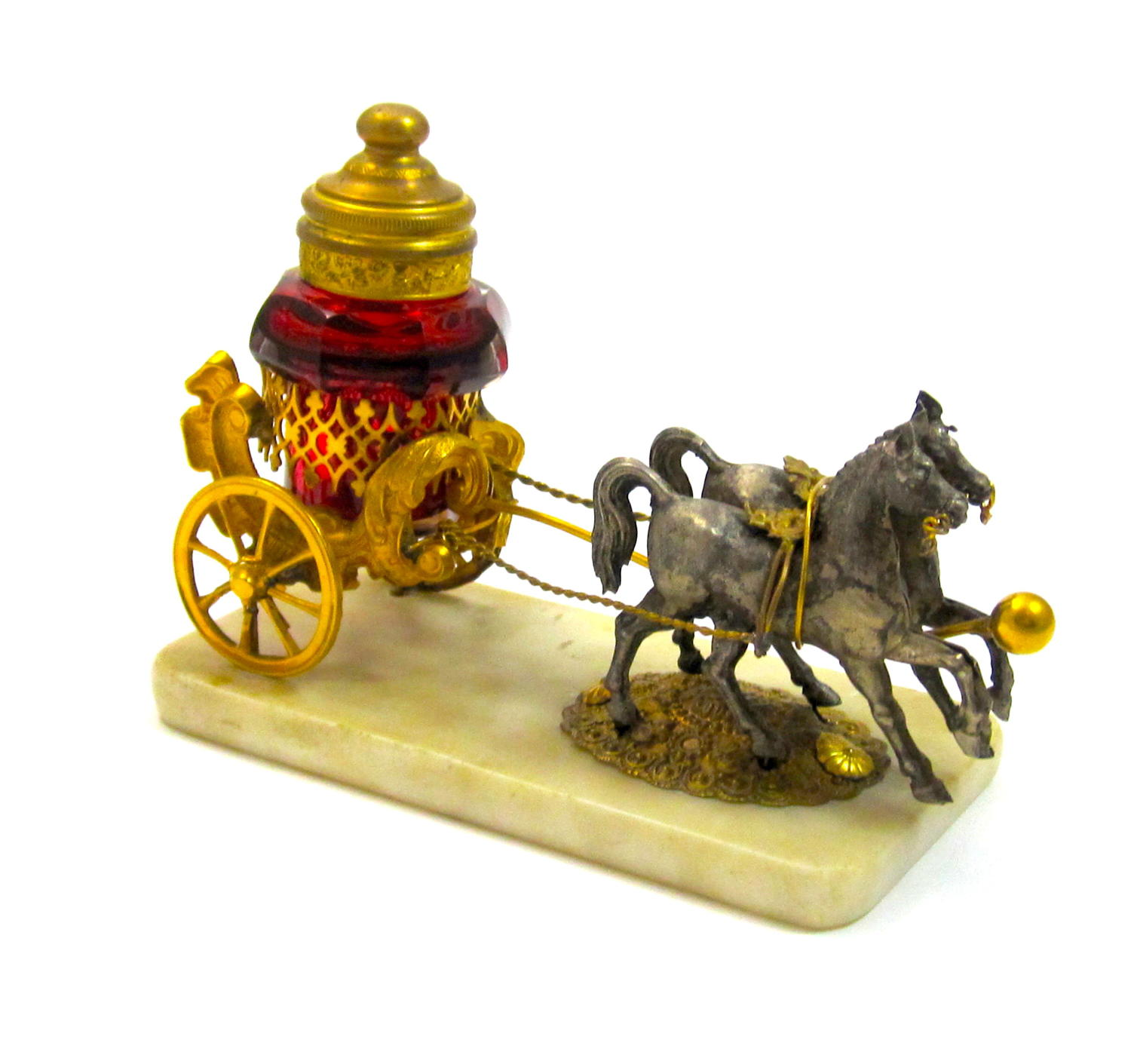 Antique Palais Royal Dore Bronze Cart with Red Crystal Bottle
