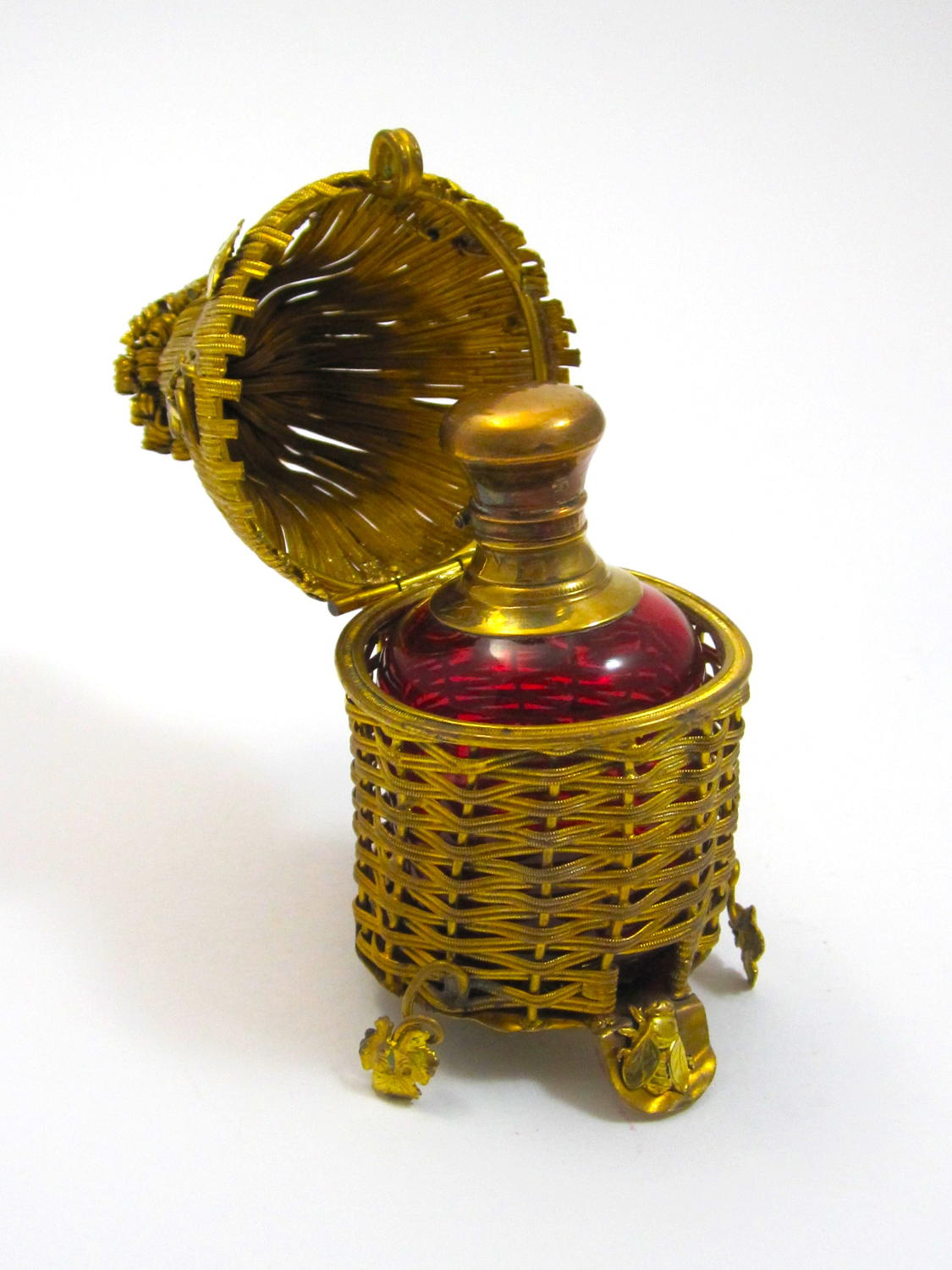Rare Antique Palais Royal Bee Hive Perfume Bottle Set.
