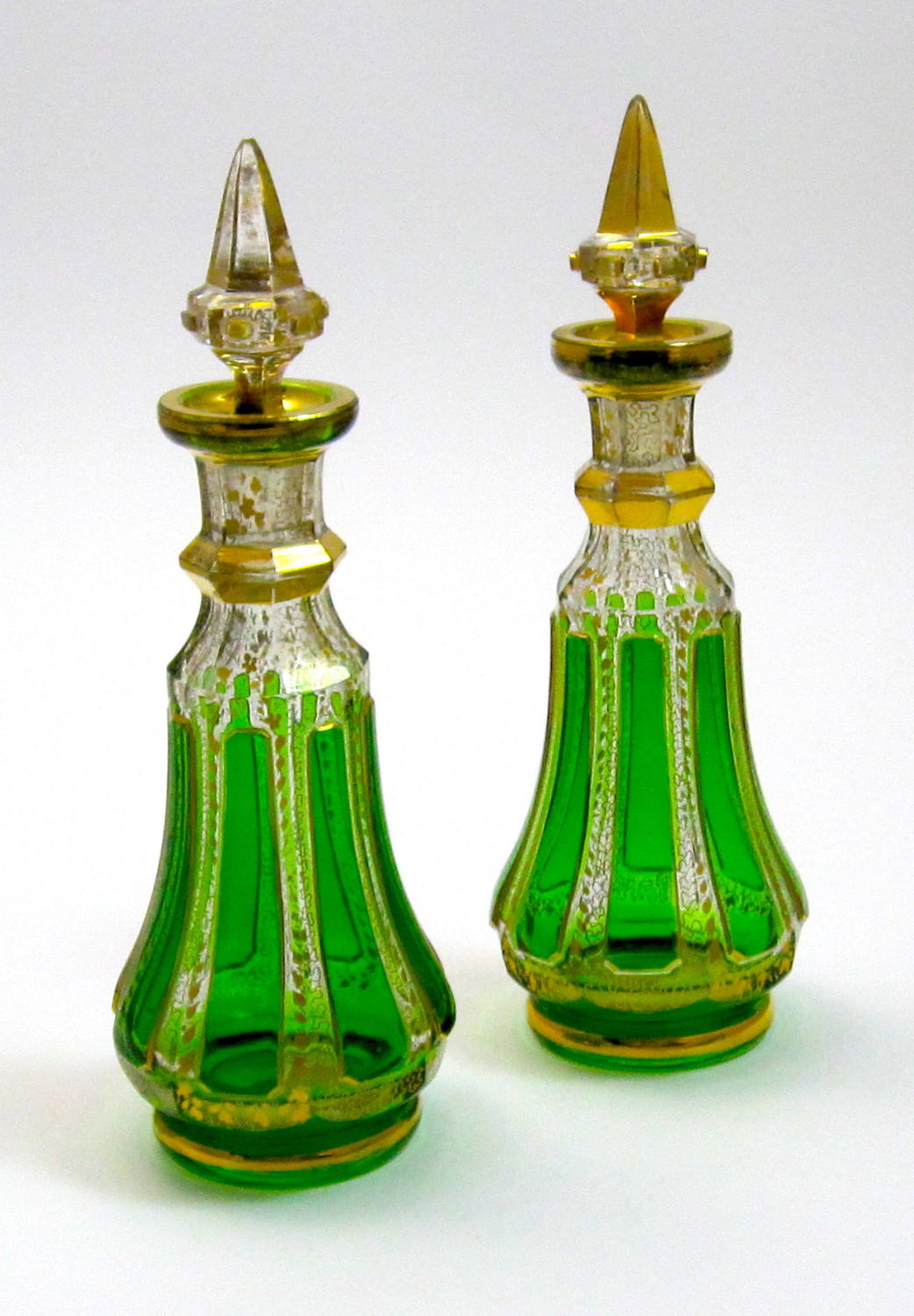 Pair of Antique MOSER Perfume Bottles