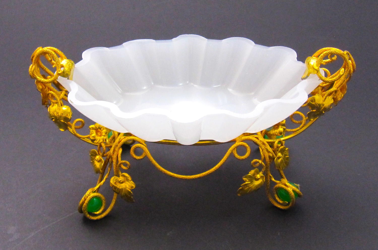 Antique Palais Royal Opaline Glass Dish with Green Opaline Baubles