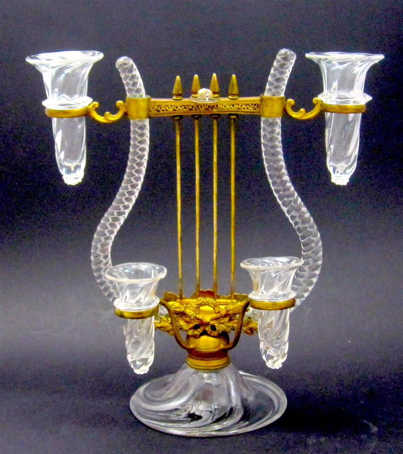 A Stunning Rare Glass Epergne Posy Holder in The Shape of a Lyre