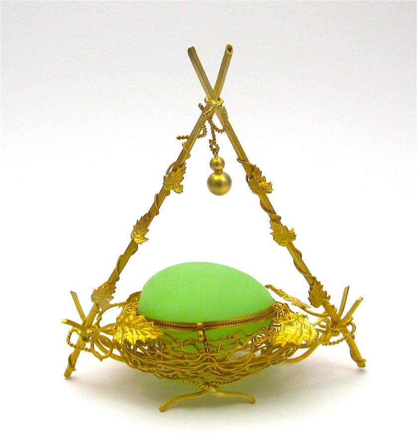 Antique French Palais Royal Green Opaline Wigwam Egg Casket