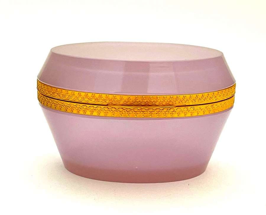 Antique Murano Oval Pink 'Alexandrite' Glass Casket Box