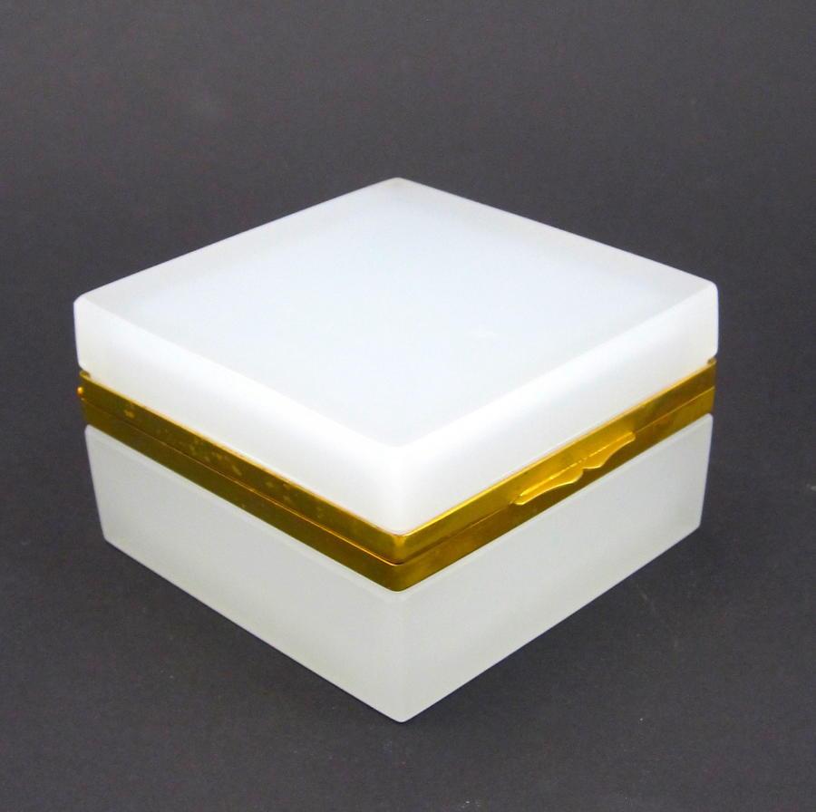 Antique Murano Square White Opaline Glass Casket Box