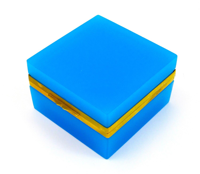 Antique Murano Square Blue Opaline Glass Casket Box