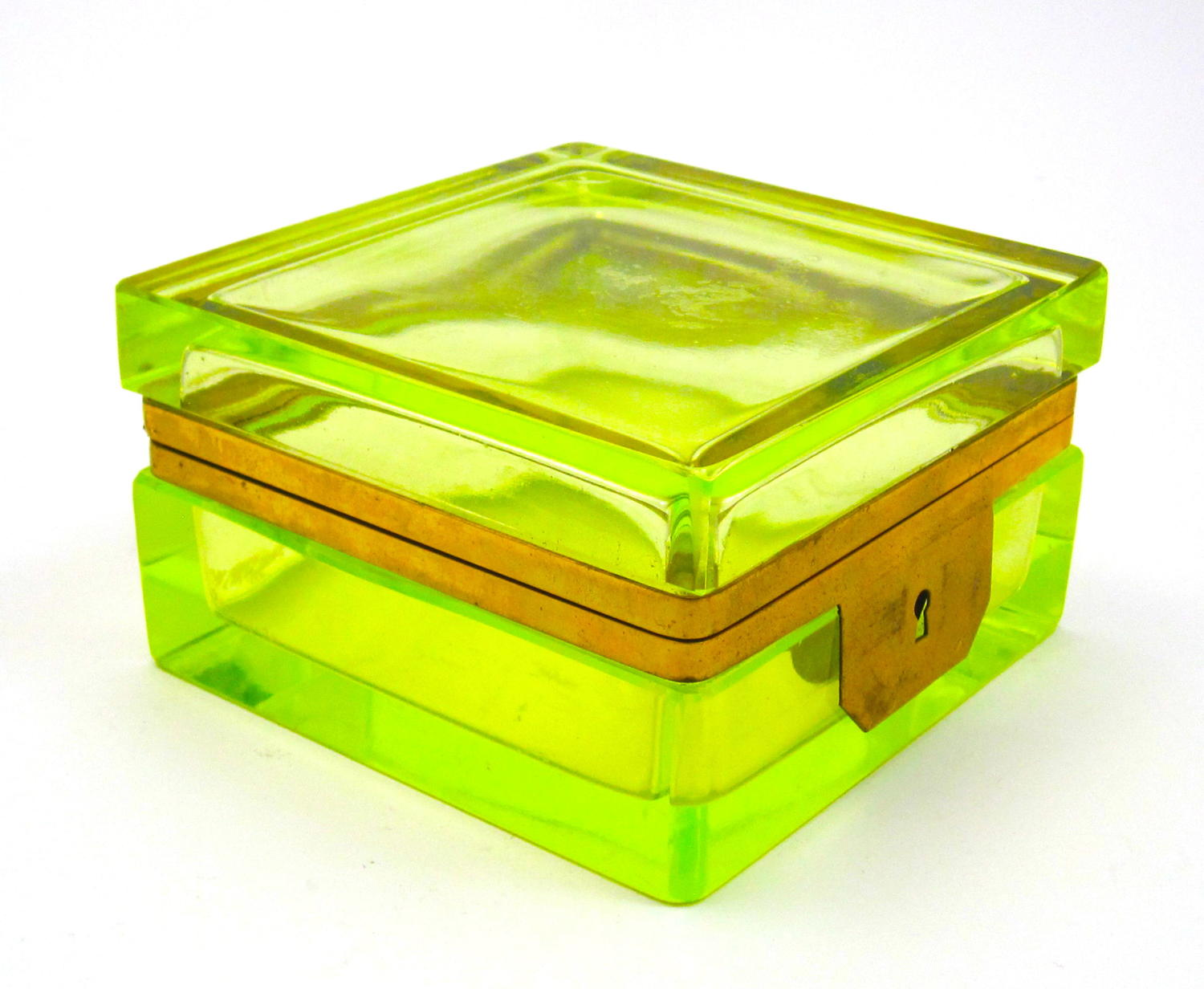 Antique Square Uranium Glass Casket with Bronze Mounts.