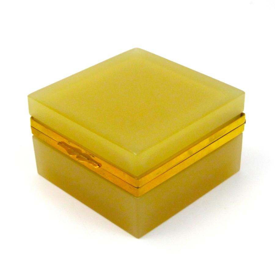 Rare Antique Murano Square ApricotOpaline Glass Casket Box