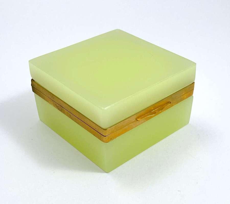 Antique Murano Square Lemon YellowOpaline Glass Casket Box