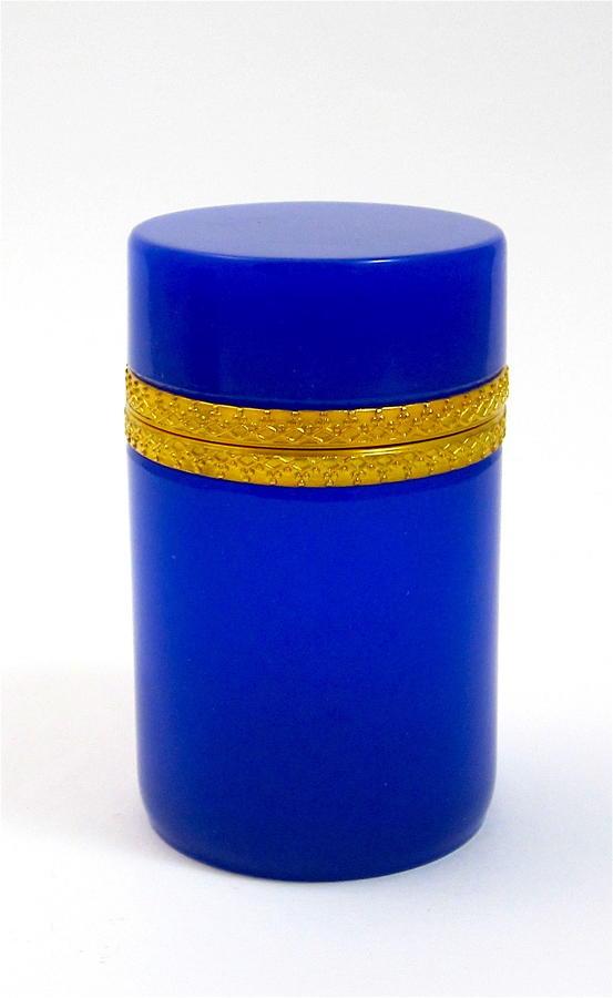 Antique ItalianMuranoCylindrical Rich Lapis BlueGlass Casket Box