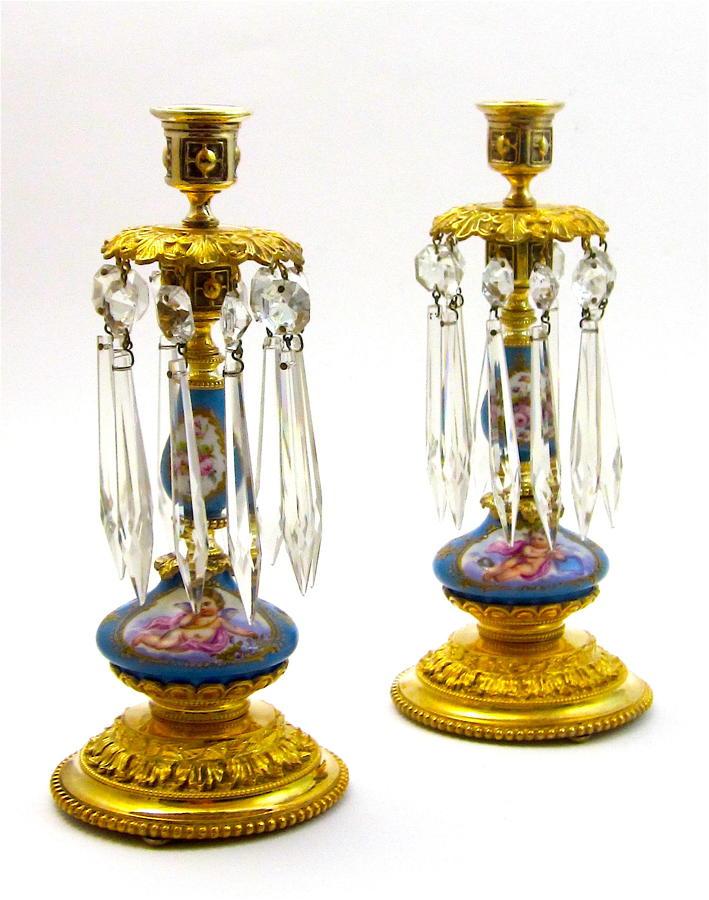 Pair of Antique French Porcelain Cherub Candlesticks