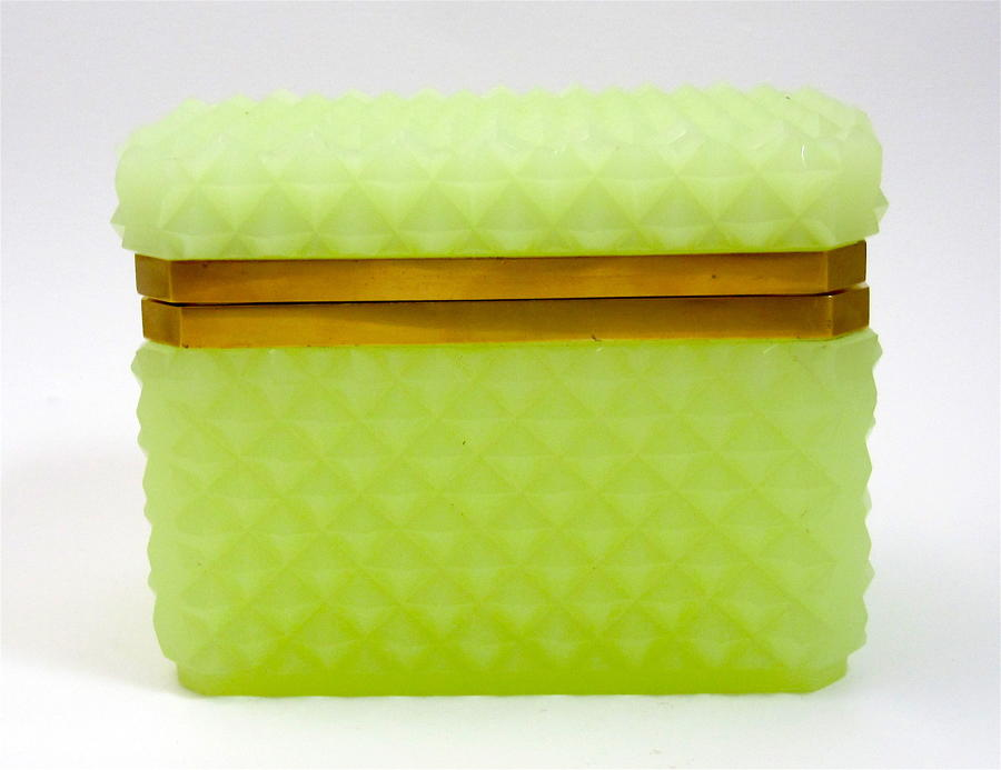 Antique Lemon Opaline Glass 'Diamond Cut' Rectangular Casket Box