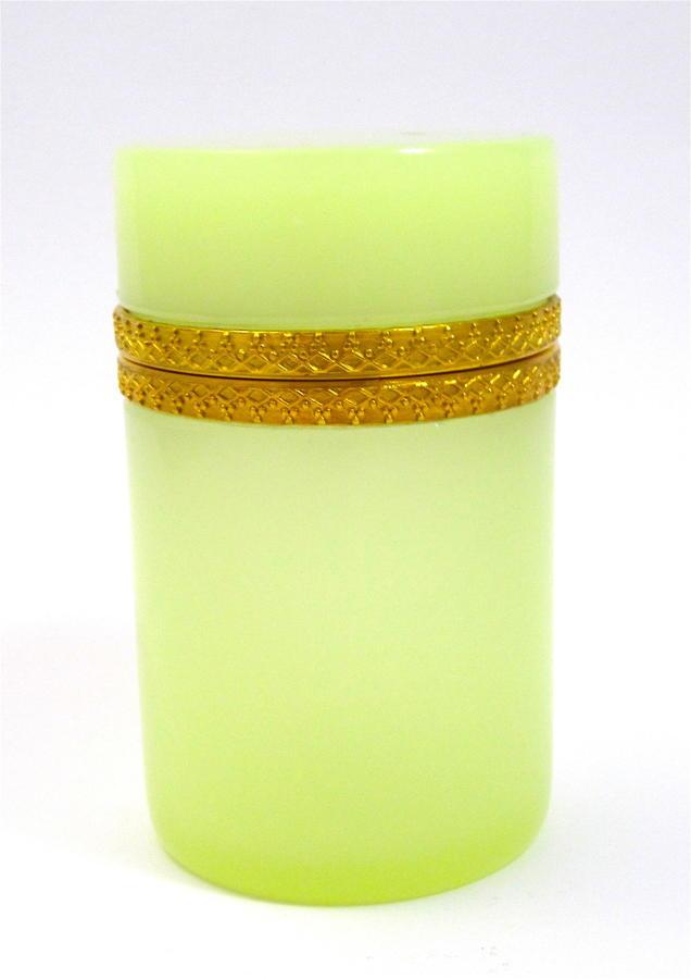 Antique Italian Murano Lemon Yellow OpalineGlass Cylindrical Box