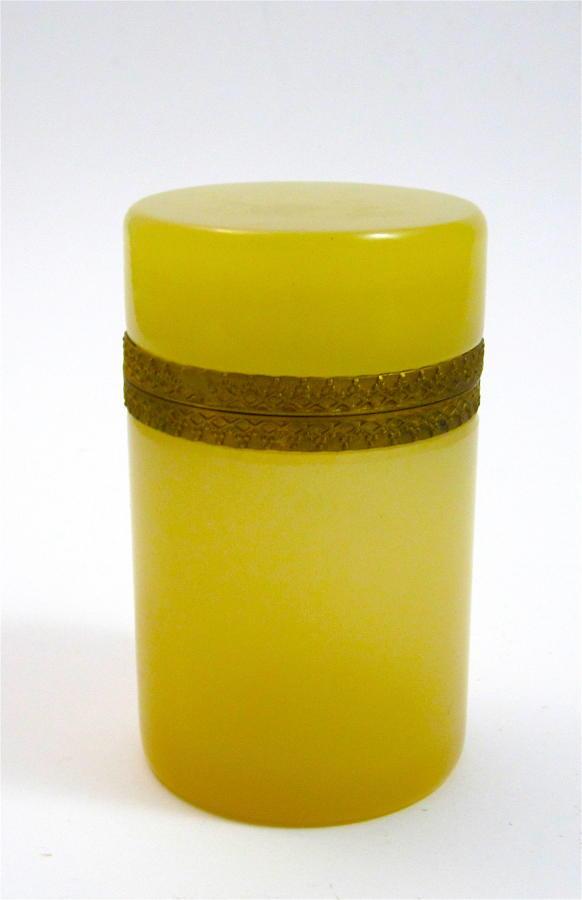 Rare Antique Murano Cylindrical ApricotOpaline Glass Casket Box