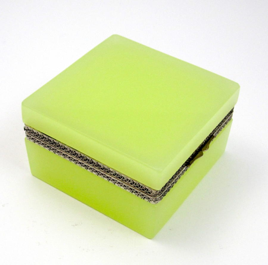 Antique Murano Square Lemon Yellow Opaline Glass Casket Box