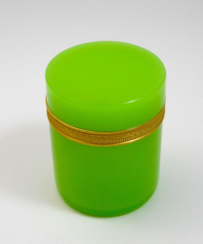 Large Rare Antique Murano Cylindrical GreenOpaline Glass Casket Box