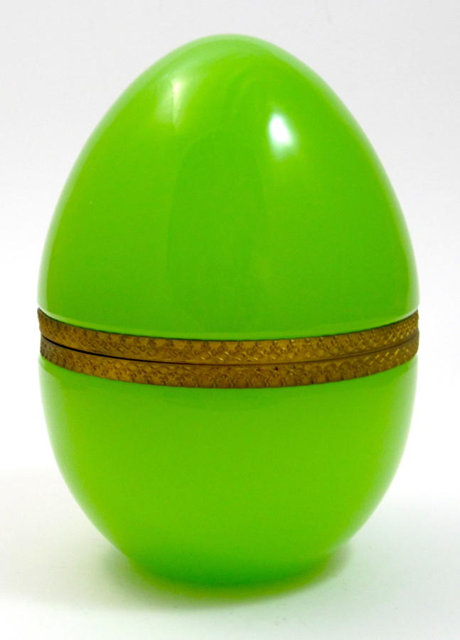 Large Antique Green Opaline Glass Egg Box Casket