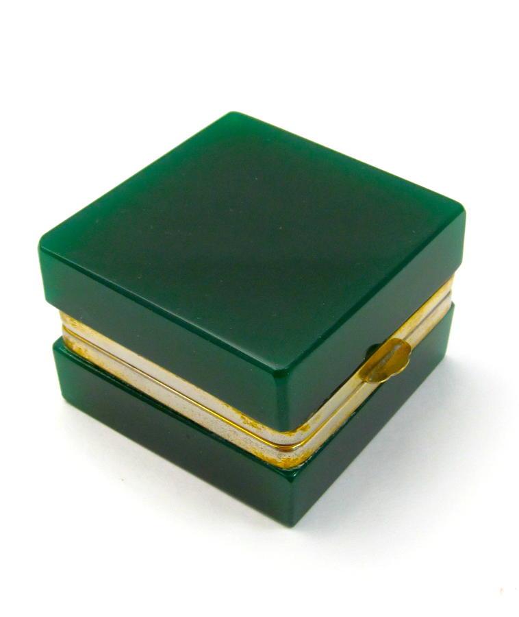 Unusual Antique Miniature Dark Green Glass Square Casket Box