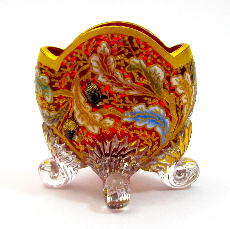 Miniature AntiqueMOSER Cranberry Glass Vase