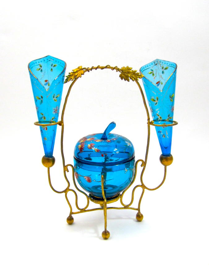 Antique MOSER Turquoise Glass Enamelled Set