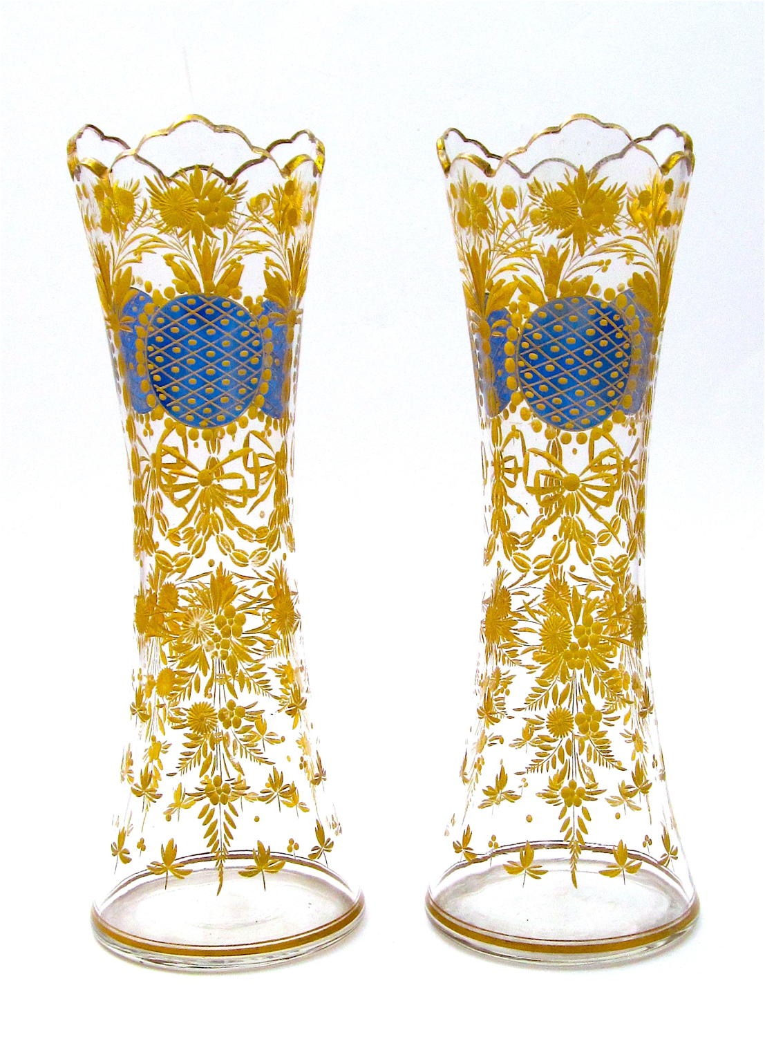 Pair Antique Bohemian MOSER Blue and Gold Enamelled Vases