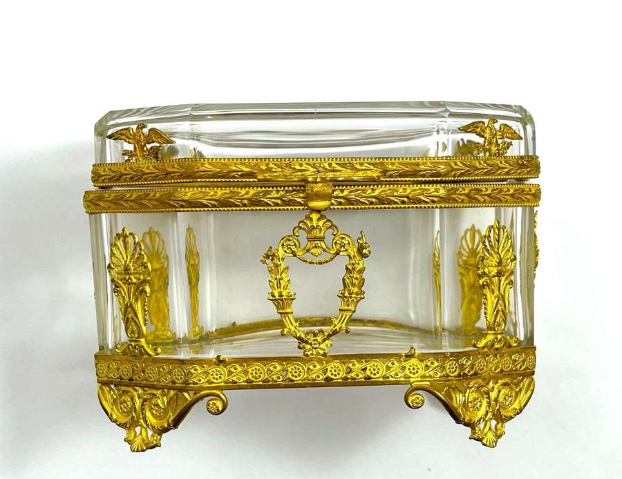 High Quality French Napoleon III Dore Bronze and Crystal Casket.