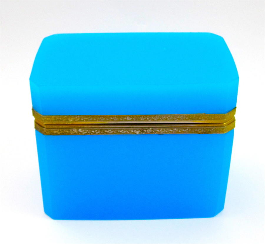 Antique French Rectangular Blue Opaline Glass Casket Box