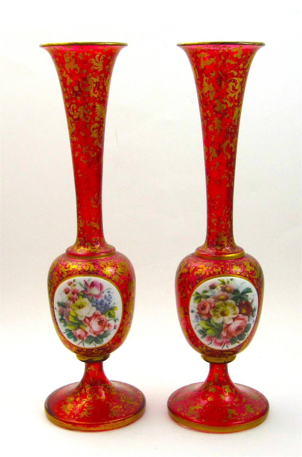 Stunning Pair of Tall Antique Bohemian Overlay Flower Vases