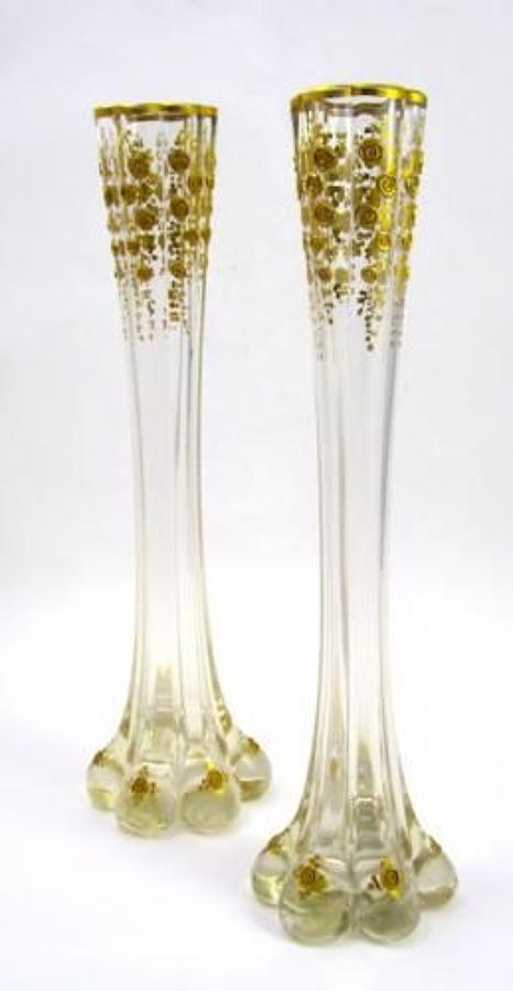 A Tall Pair of Unusual Antique St Louis Vases with Applied Flowers