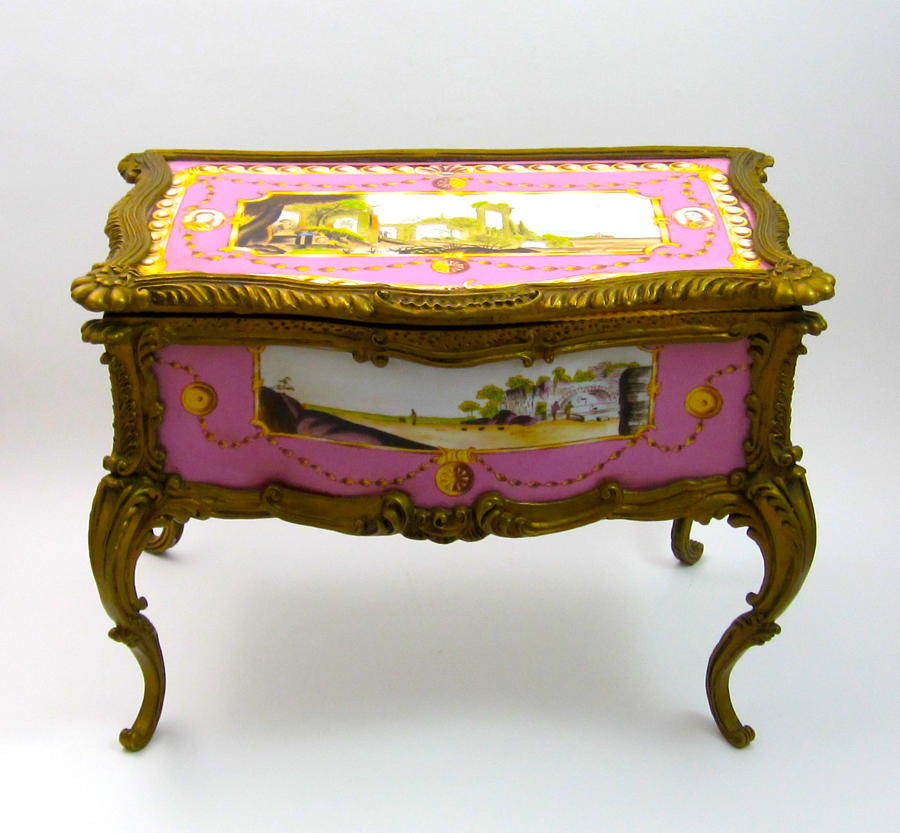 HUGE Antique French Louis XV Style Chiffonier Porcelain Jewellery Box