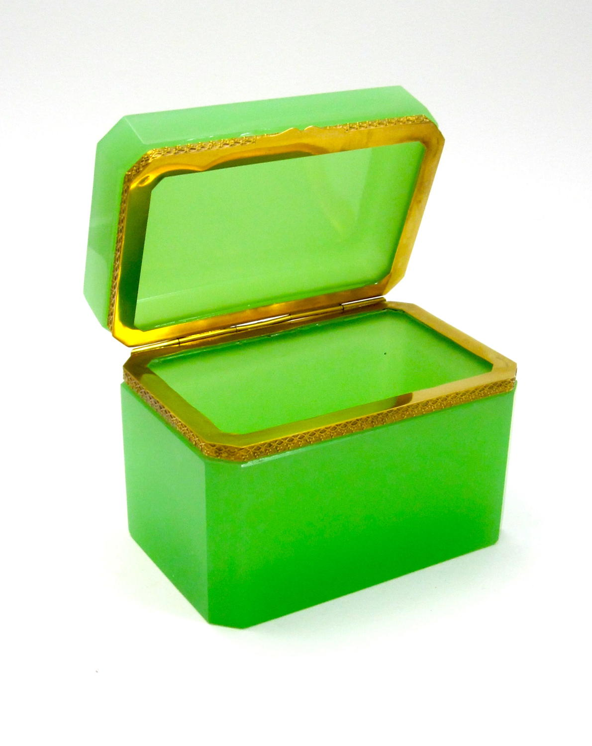 Antique Green Opaline Glass Rectangular Casket Box