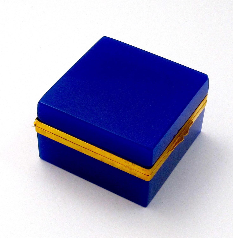 Unusual Vintage Lapis Blue Italian Murano Square Casket Box