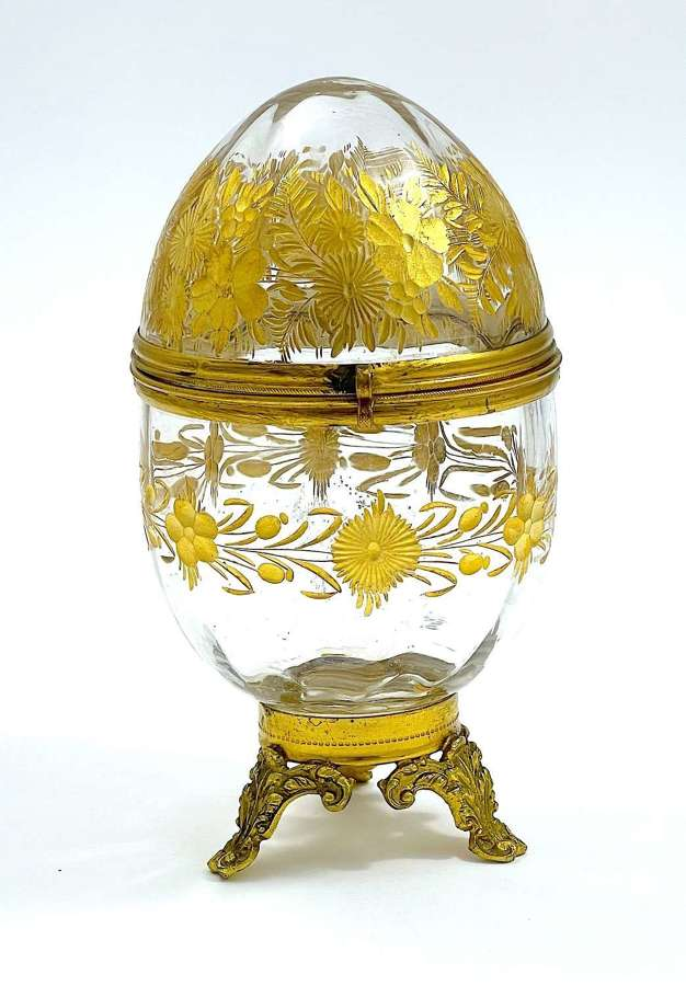 Antique French St Louis Gilded Egg Casket Box.
