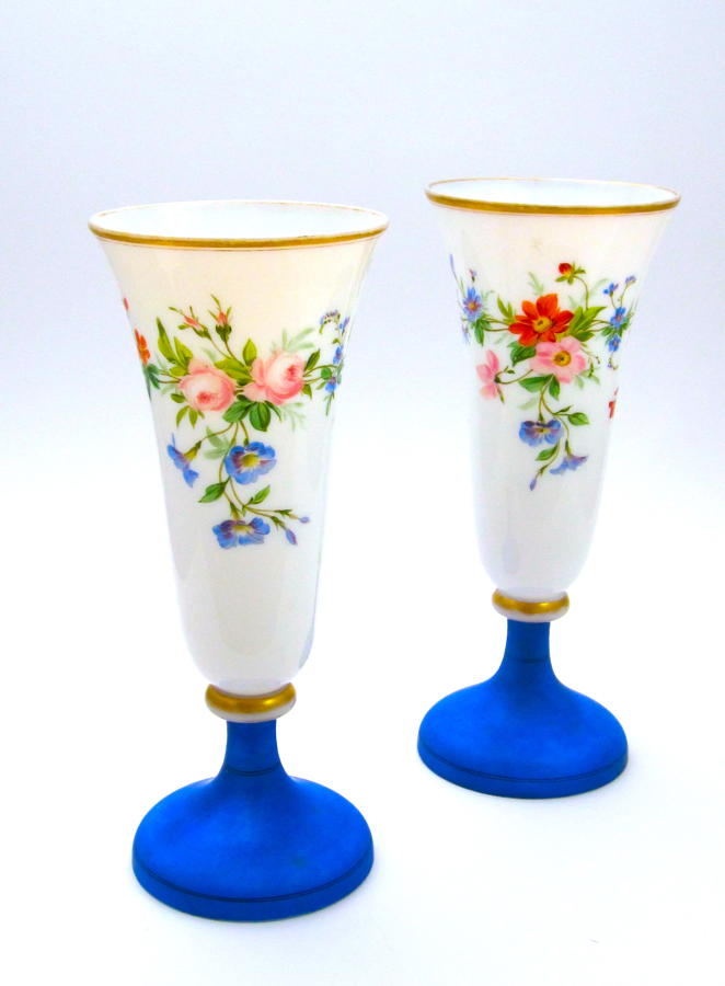 Pair of Antique French Opaline Vases Decorated with Flowers