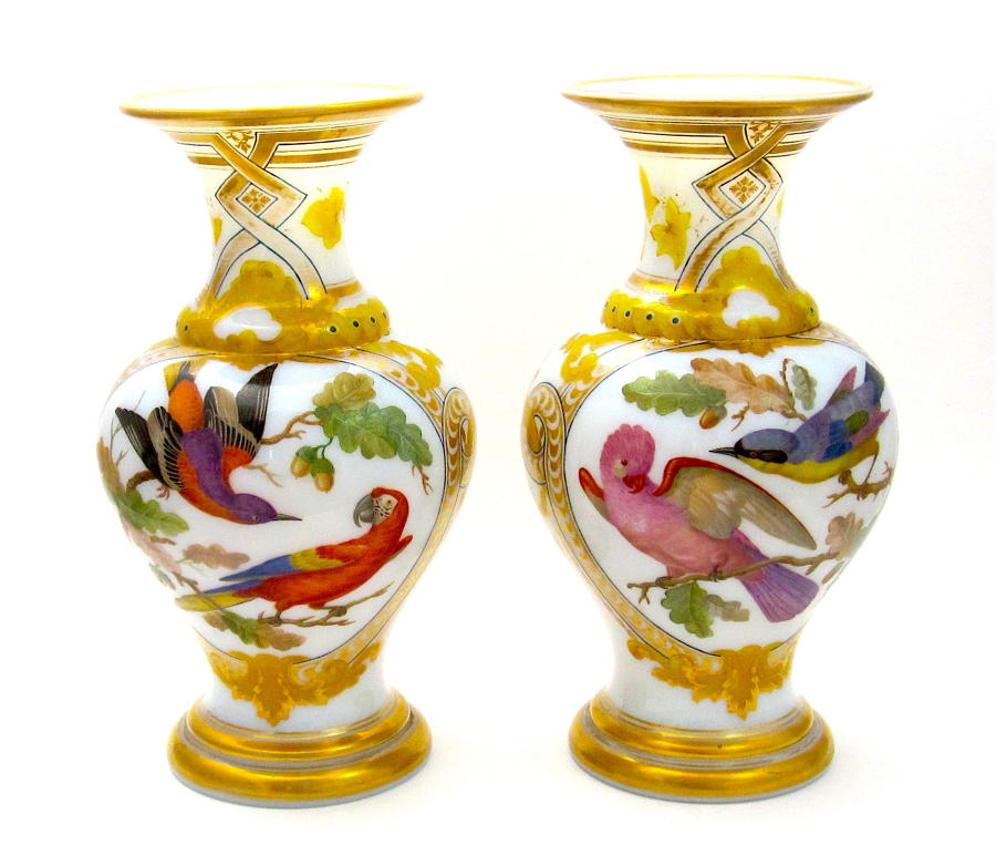 Pair RARE Baccarat Opaline Exotic Bird Vases by Jean Francois Robert