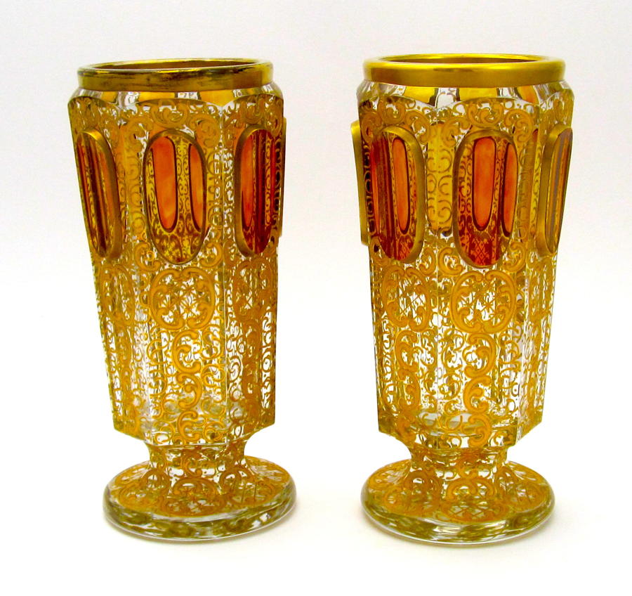Pair of Antique Moser 'Jewel' Vases with Amber Cabochons