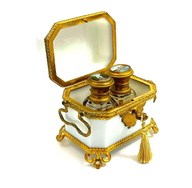 Fine Antique French Palais Royal White Opaline Glass Perfume Casket