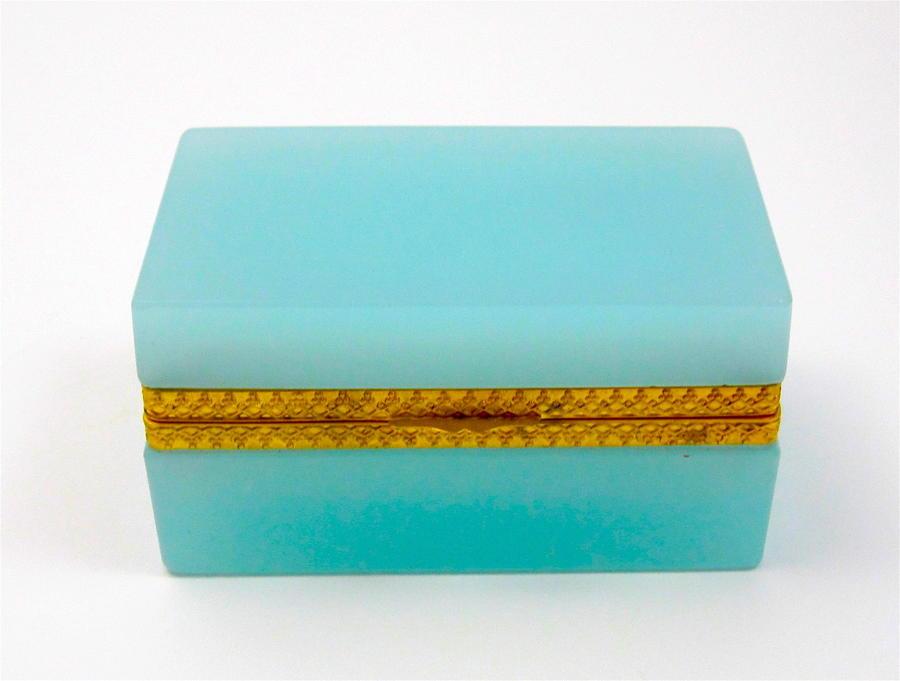 Antique Murano TurquoiseOpalineGlass Rectangular Casket Box