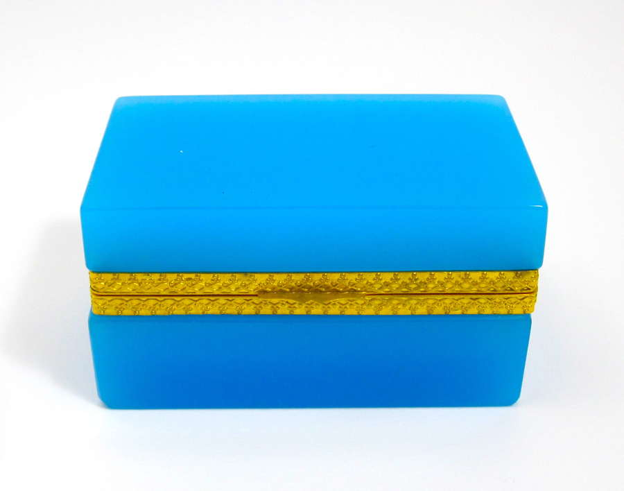 Antique Murano Blue OpalineGlassCasket Box