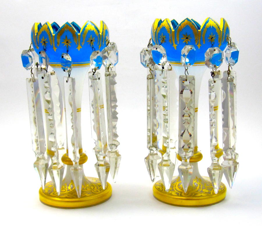 Pairof Antique French Blue and White Opaline Glass Lustres